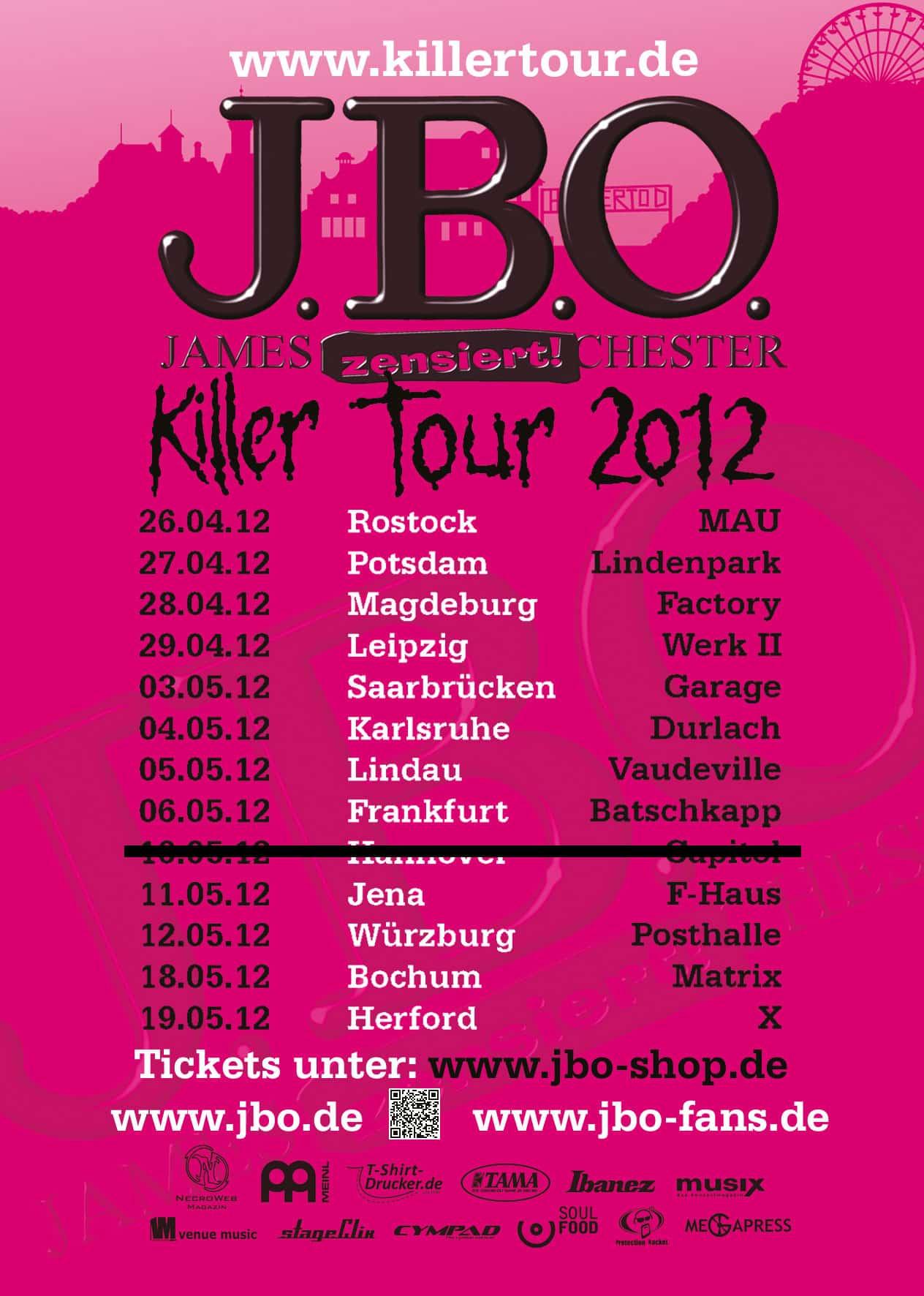 J.B.O. müssen ersten Block der Killer-Tour 2012 verschieben