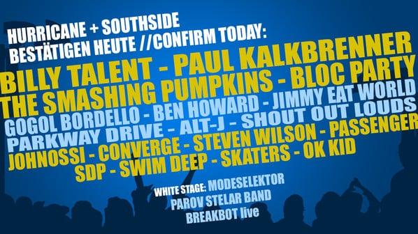 21 neue Bands für das Hurricane und Southside Festival bestätigt!