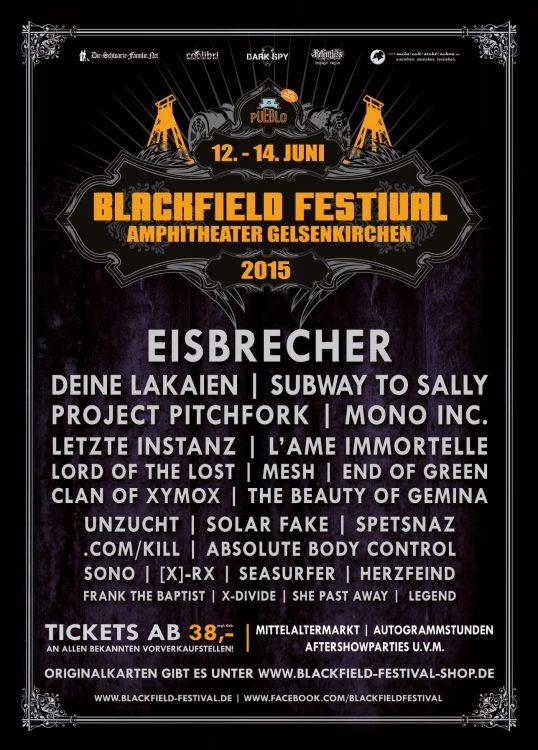 Blackfield Festival 2015 - Finales Line-Up und Running Order