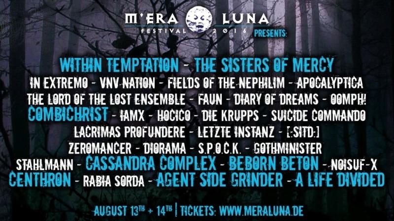 M'era Luna Festival 2016 - Das vollständige Line-Up